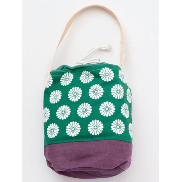 【カヤ】日本の小紋柄 紋乃巾着ミニバッグ グリーン