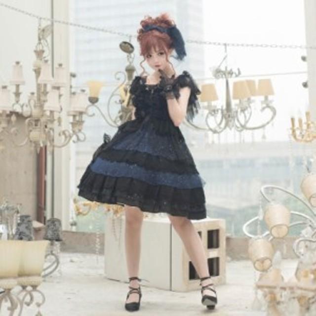5cb41a28c8649 ロリータドレス lolita ロリィタ Rabbit Sheep 海のプリンセスBlackジャンパースカート ジャンスカのみ 甘ロリ 姫