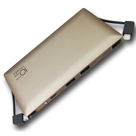 【Slim Power Bank】 10000mAh ライトニング/microUSBケーブル内蔵 4台同時充電可 最大出力2.4A 急速充電 薄型モバイルバッテリー (ゴールド)