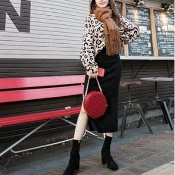 今季もトレンド レオパード柄で大人レディに♡ 秋冬新作 Vネック ニットトップス+スリット入りスカート セットアップ
