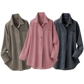 ベルーナ 【3色組】スエード調ゆったりスキッパーシャツ<ロマティ> 1 M レディース