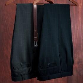 ベルーナ 【2本組】裾上げ済暖か格子柄スラックス 股下75cm ウエスト85cm メンズ