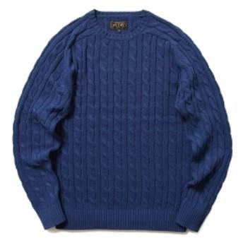 BEAMS PLUS / ケーブル クルー ニット 5G メンズ ニット・セーター NAVY M