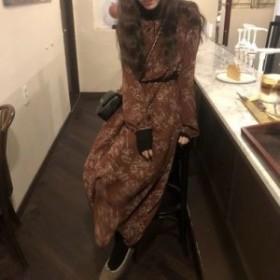 2色展開 フラワープリント Aライン ワンピースドレス♡ 襟元フリル エレガント フェミニン お食事会 デイリーユース