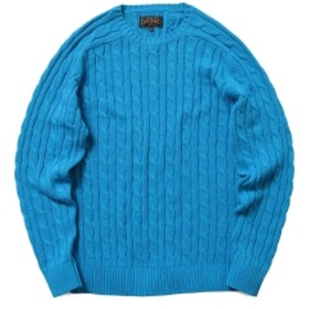 BEAMS PLUS / ケーブル クルー ニット 5G メンズ ニット・セーター BLUE S