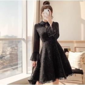 シフォンの透け感がちょっぴりSEXY♡ ツイード ワンピースドレス フレアスリーブ リボン スパンコール フリンジ