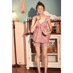 ロリータファッション ロリィタ ナイトウェア ギンガムチェックキティちゃんのパジャマのみ 上下セット 甘ロリ 部屋着