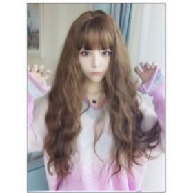 ウィッグ かわいい 耐熱 ロング パーマ コスプレ かつら レディース  ゆるふわ 女性 wig 自然 付け毛