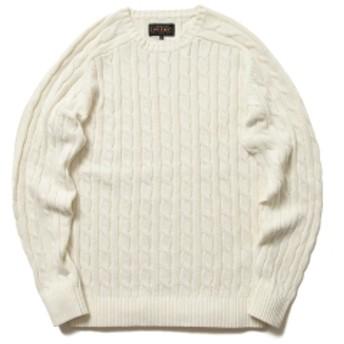 BEAMS PLUS / ケーブル クルー ニット 5G メンズ ニット・セーター WHITE S