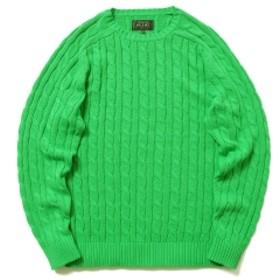 BEAMS PLUS / ケーブル クルー ニット 5G メンズ ニット・セーター GREEN L
