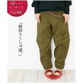 パンツ テーパード レディース ゆったりワンサイズ ギャザー切り替え  S〜LL ニッセン