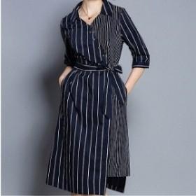 トレンド 人気のお品 膝丈 ワンピース ストライプ リボン 七分袖 襟付き Vネック オフィス 女子会 デート