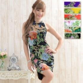 チャイナドレス ミニドレス キャバ キャバクラドレス コスチューム 衣装 送料無料 パワーネット素材 フラワープリントチャイナドレス