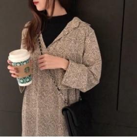 シフォンワンピース シフォン ワンピース 2色展開 総柄 長袖 ゆったりシルエット ラフ レイヤード風 ホワイト/ブラック