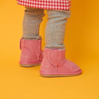 ミキハウス 中までふわふわ ショートブーツ ピンク