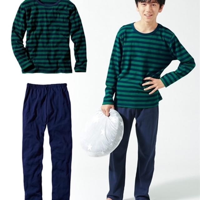 a5507802022ae 綿100%ボーダー長袖Tシャツパジャマ(男の子。女の子 子供服。ジュニア