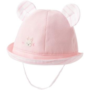 ミキハウス お耳つきベビー帽子 ピンク