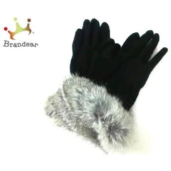 アンタイトル UNTITLED 手袋 レディース 美品 黒×グレー ウール×ファー 新着 20190602