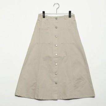 スタイルブロック STYLEBLOCK 綿グログランフロント釦スカート (グレージュ)
