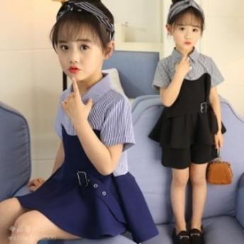 女の子 子供服 2018 2点セット 新品 Tシャツ 発表会 ショートパンツ 130 150 入学式 120 個性 お嬢様風 2点セット 夏着 半袖 140