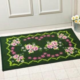 45x75cm シックな薔薇の土間マット 土落としマット 玄関マット ローズ 水や摩擦に強い