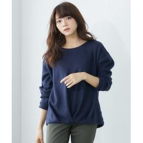 裾タック起毛ニット風トップス (Tシャツ・カットソー)(レディース)