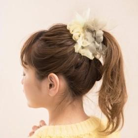 新緑|咲き編みシュシュ