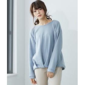 裾タック起毛ニット風トップス (Tシャツ・カットソー)(レディース)T-shirts