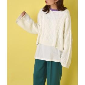 【58%OFF】 ダブルクローゼット ケーブル編みフードプルオーバー レディース ホワイト FREE 【w closet】 【セール開催中】