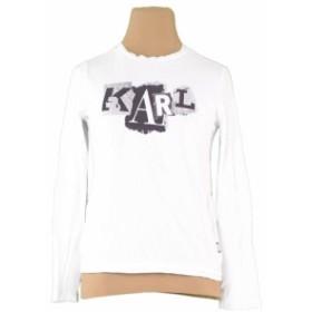 カール ラガーフェルド Karl Lagerfeld ロンT 長袖 カットソー ガールズ ボーイズ可 プリント 【中古】 R1245
