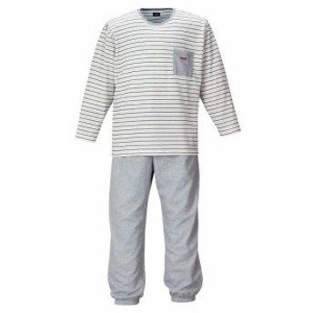 【大きいサイズ】【メンズ】 marie claire homme ダンボールボーダー長袖Tシャツセット オフホワイト×モクグレー 1159-9102-1