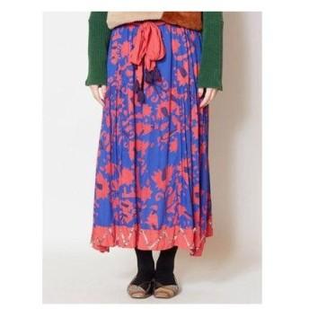 【チャイハネ】インドキルト柄プリントロングスカート ブルー