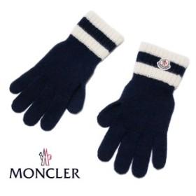 送料無料!!【8】MONCLER モンクレール ロゴワッペン ネイビー 手袋/グローブ