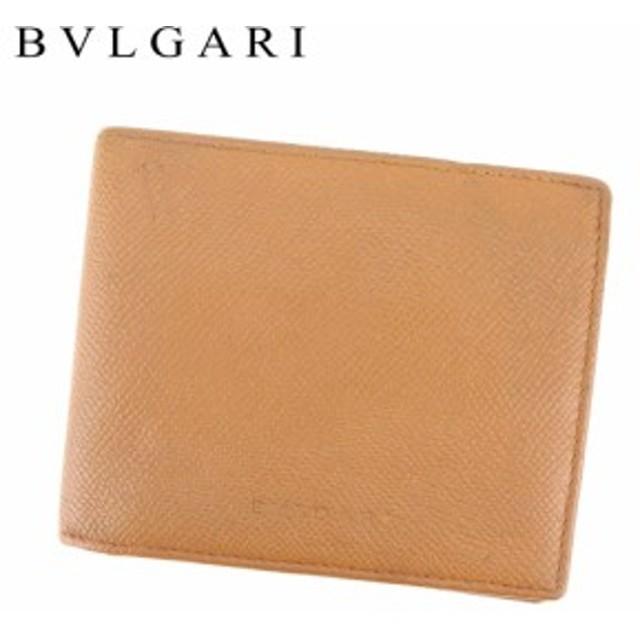 916d533aeea8 ブルガリ BVLGARI 二つ折り 札入れ 二つ折り 財布 小物 レディース メンズ 型押しロゴ 【中古