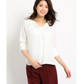 COUP DE CHANCE / クードシャンス 【洗える】ひねりネックサテンシャツ