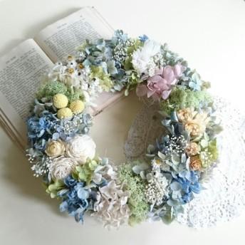 ―ボタニカルcake―ウェルカムリース 花冠のパステルプリザリース