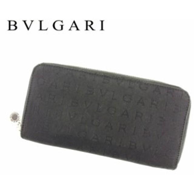 e86a5d24b39d ブルガリ BVLGARI 長財布 財布 小物 サイフ ラウンドファスナー レディース メンズ ロゴマニア 【中古】