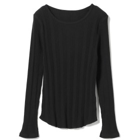 Ray BEAMS / パターン リブ クルーネック カットソー レディース カットソー BLACK ONE SIZE