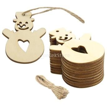 木製 クリスマステーマ ギフトタグ ブークマーク クリスマスツリー 吊りデコレーション 糸付き 10枚入り 全3デザイン - #3