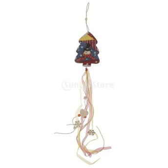 ノーブランド品 4種 木製 かわいい ペンダント クリスマスツリー クリスマス リボンの装飾/装飾品 ぶら下げ - クリスマスツリー, 14 x 10cm