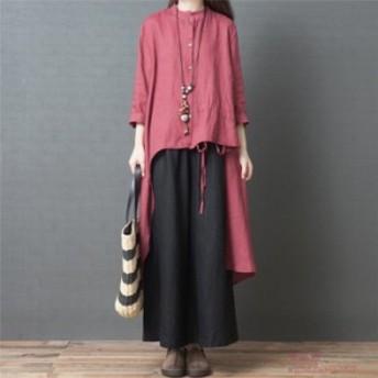 ロングシャツ+ワイドパンツ セットアップ 長袖 綿麻 レディース