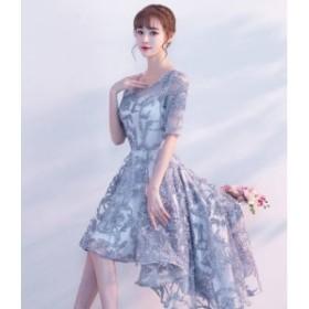 fa2b87093ecee ワンピース ドレス ミニ丈 フィッシュテール 五分袖 花柄 刺繍 レース パーティー 上品 フォーマル