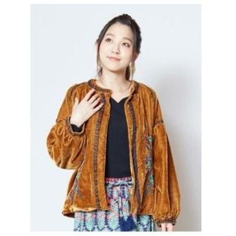 【チャイハネ】花刺繍ベロアショートジャケット ブルゾン イエロー
