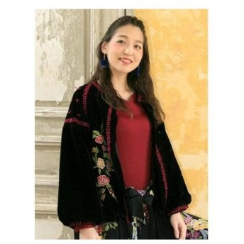 【チャイハネ】花刺繍ベロアショートジャケット ブルゾン ブラック