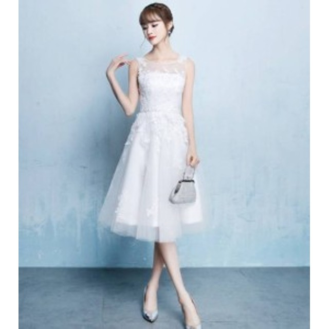ワンピース ドレス ひざ丈 ノースリーブ レース 刺繍 シースルー ウエストリボン パーティー 上品 フォーマル 結婚式 20代 春夏 d599