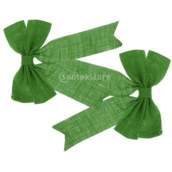 ノーブランド品 3色選択可 2点 蝶結びの装飾 クリスマス クリスマスツリー 贈り物 - 緑