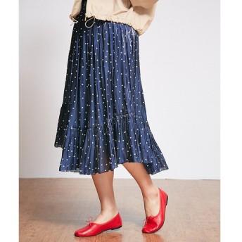 Rouge vif la cle / ルージュ・ヴィフ ラクレ ドット裾切替ギャザースカート