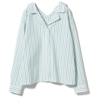 Ray BEAMS / ストライプ オープンカラ― シャツ レディース カジュアルシャツ GREEN ONE SIZE