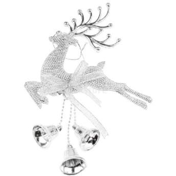 クリスマスツリー 吊り飾り トナカイ ディア エルクデザイン ベル クリスマスパーティー デコレーション ギフト 全3色 - シルバー