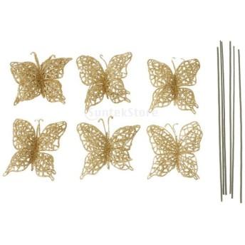 ノーブランド品 6本 クリスマス キラキラ 中空 バタフライ クリスマスツリー ハウスの装飾 ハンギング 6色 - ゴールド